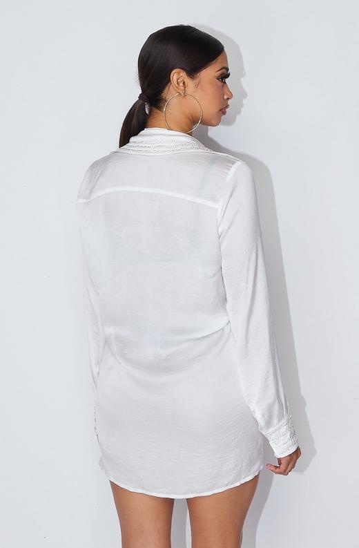 Ivory Rhinestone Satin Shirt Dress 2