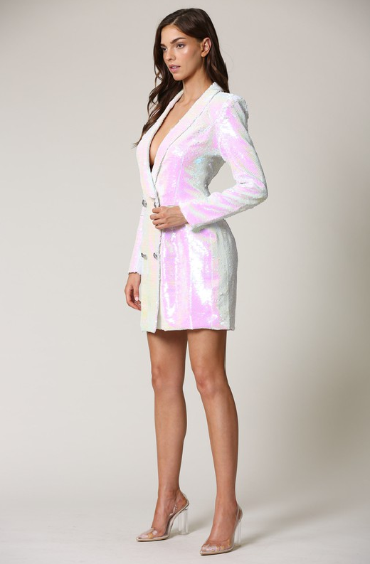 Mauve Iridescent Sequin Blazer Dress 1