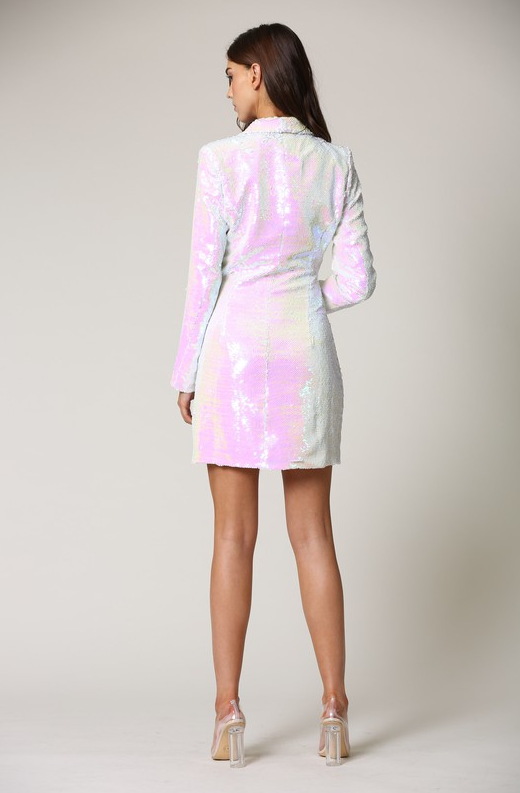Mauve Iridescent Sequin Blazer Dress 3