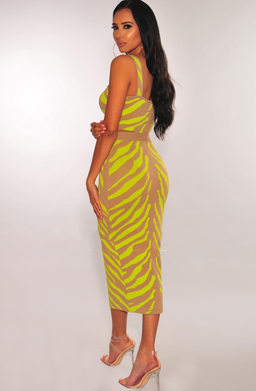 Mocha Neon Lime Zebra Knit Skirt Two Piece Set 2