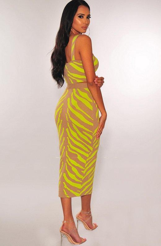 Mocha-Neon-Lime-Zebra-Knit-Skirt-Two-Piece-Set-3