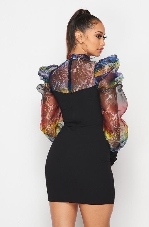 Multi Color Black Mesh Puff Sleeves Mini Dress 4