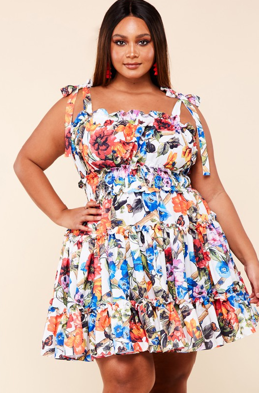Multi Color Flower Garden Ruffle Dress Plus Size 1