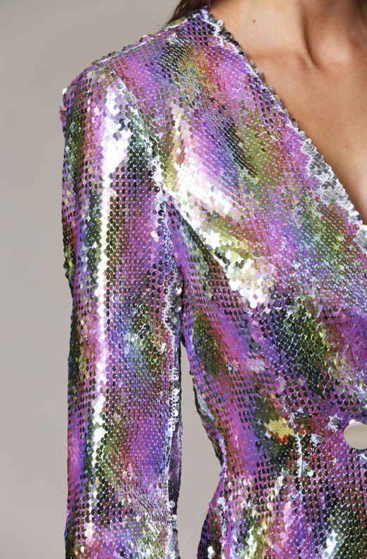 Multi Color Snake Sequins V Neckline Blazer Dress 1