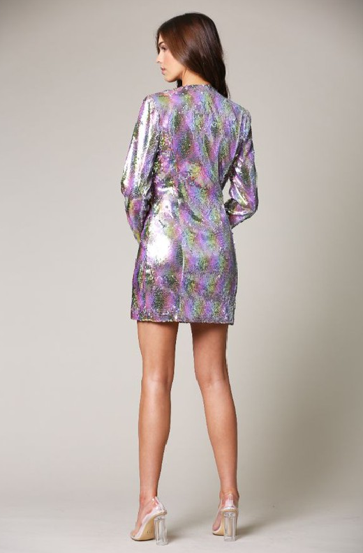Multi Color Snake Sequins V Neckline Blazer Dress 4
