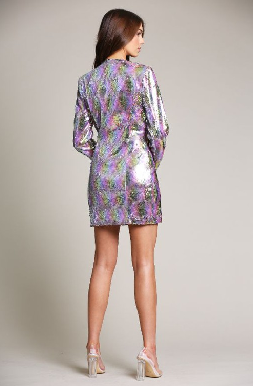 Multi Color Snake Sequins V Neckline Blazer Dress 5