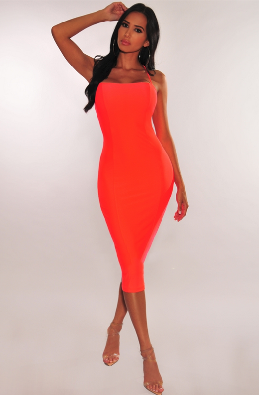Neon Coral Lace Up Back Dress 1