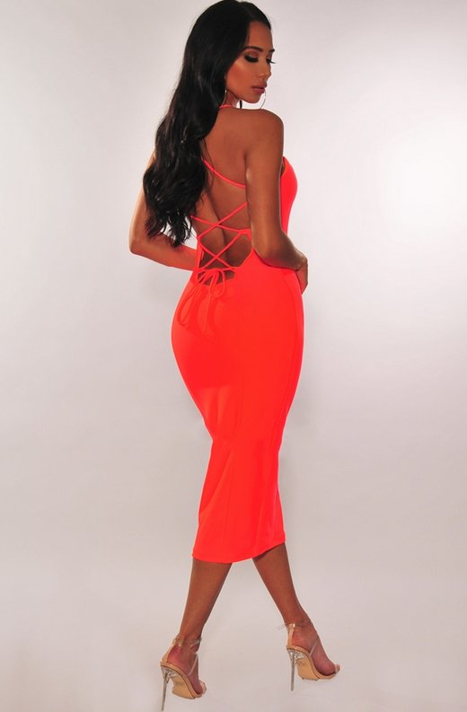 Neon-Coral-Lace-Up-Back-Dress-3