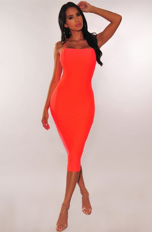 Neon-Coral-Lace-Up-Back-Dress-4