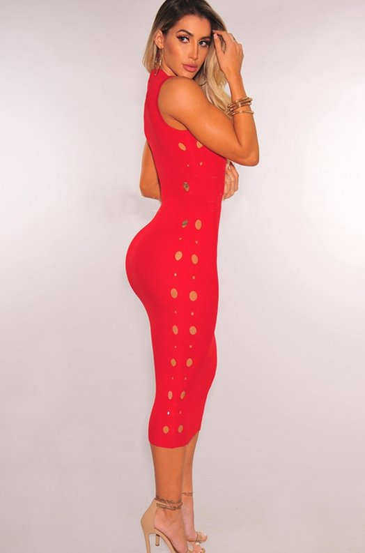 Red Ribbed Knit Cut Out Sleeveless Midi Dress 10