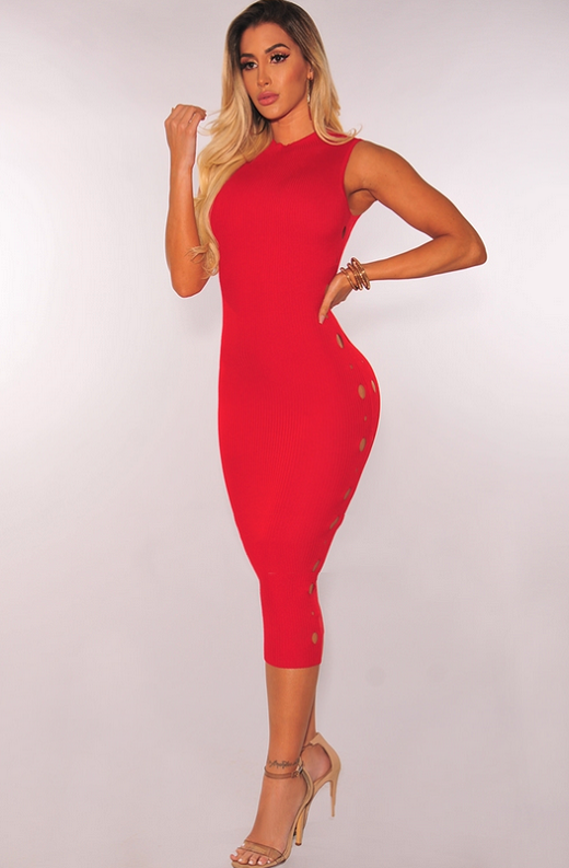Red Ribbed Knit Cut Out Sleeveless Midi Dress 2