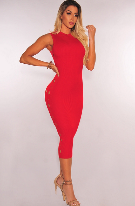 Red Ribbed Knit Cut Out Sleeveless Midi Dress 4
