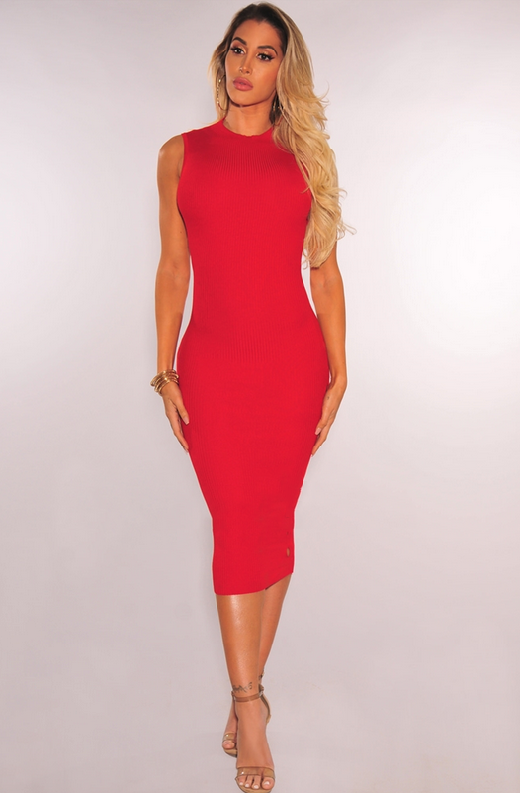 Red Ribbed Knit Cut Out Sleeveless Midi Dress 5