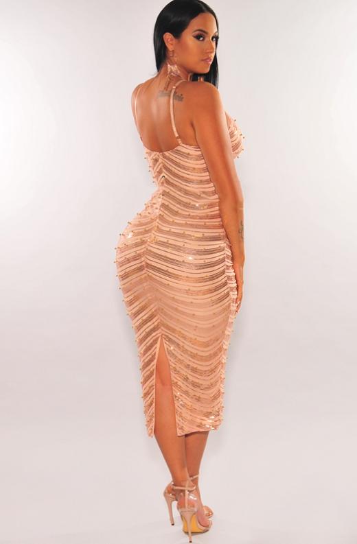 Rose Gold Sequins Embellished Midi Dress 2