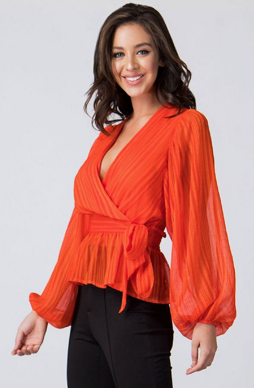Tangerine Sheer Side Tie V Neck Top 3