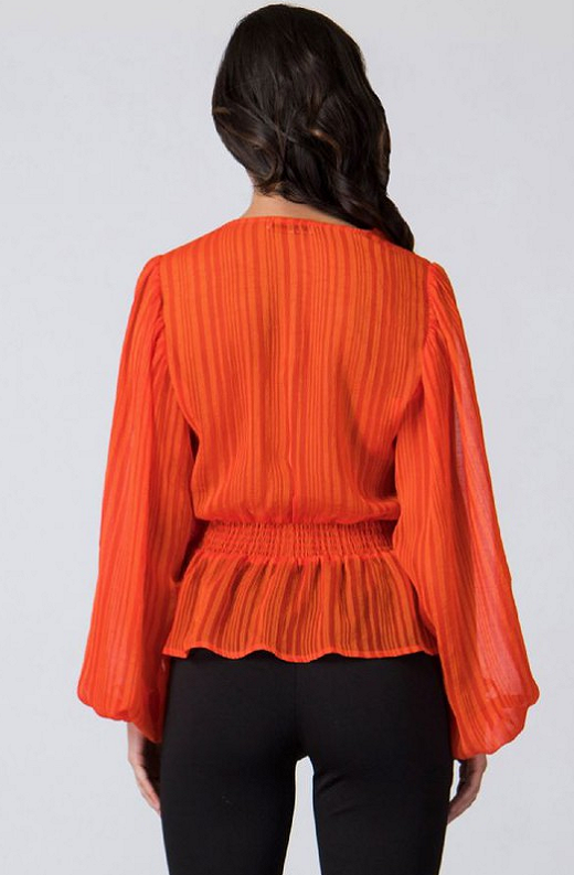 Tangerine Sheer Side Tie V Neck Top 4