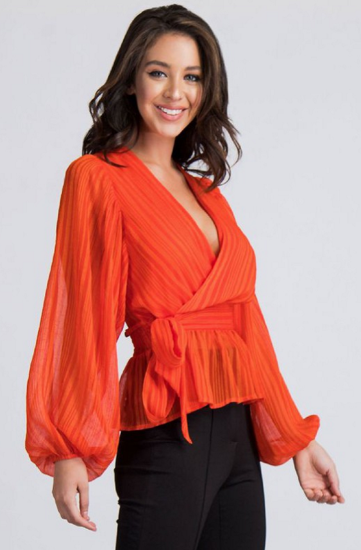 Tangerine Sheer Side Tie V Neck Top 5