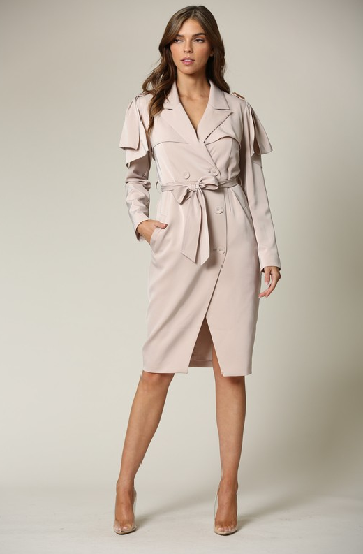 Taupe Satin Long Sleeve Trench Coat 1
