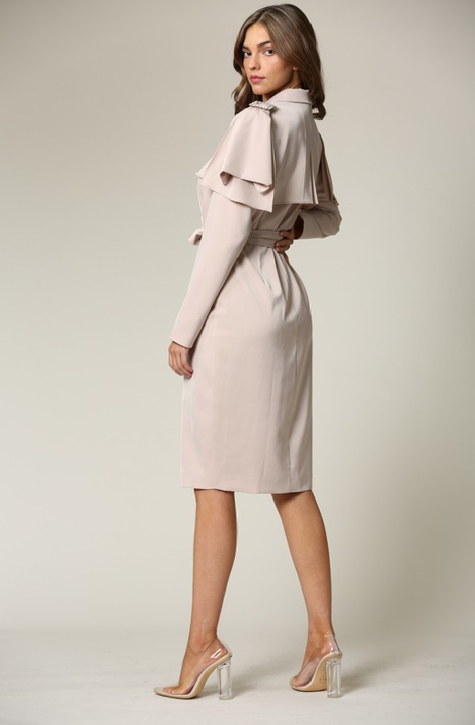 Taupe Satin Long Sleeve Trench Coat 3