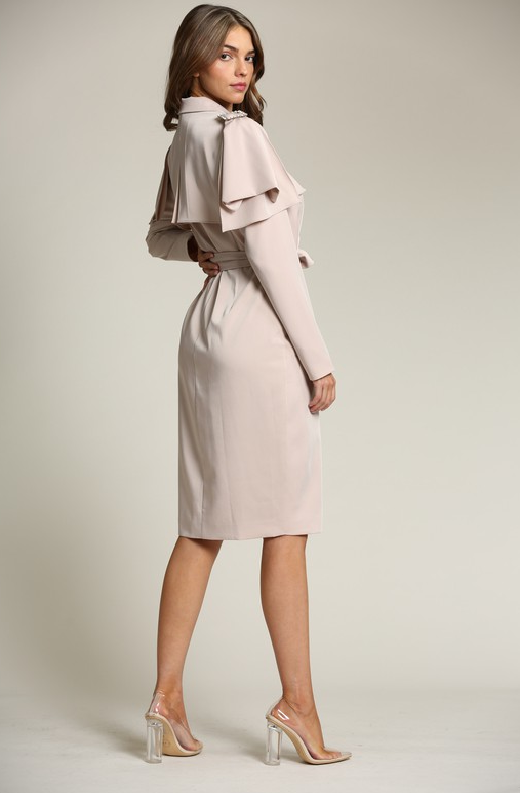 Taupe Satin Long Sleeve Trench Coat 4