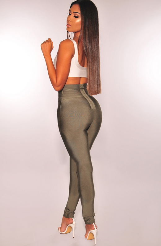 WAIST SNATCHED Olive Bandage High Waist Belted Pants 2