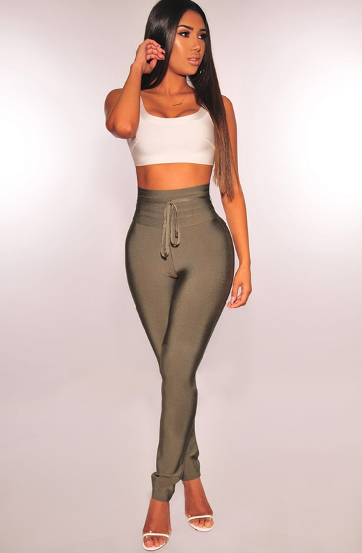 WAIST SNATCHED Olive Bandage High Waist Belted Pants 3