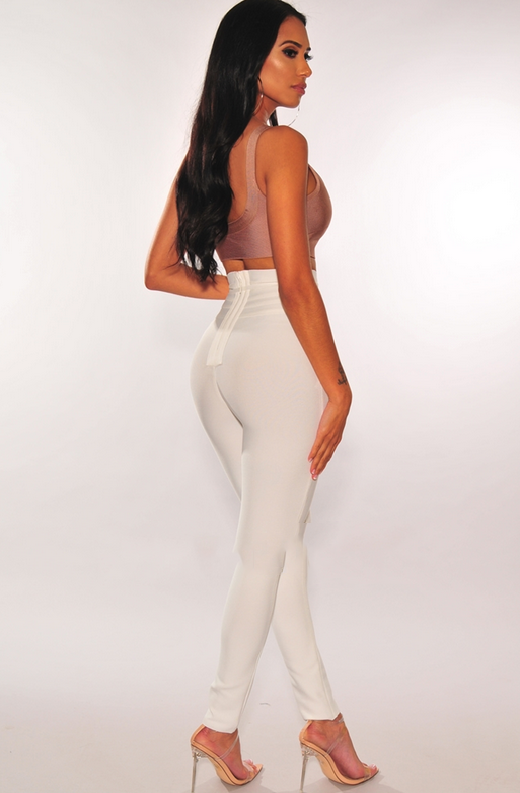 WAIST SNATCHED White Bandage High Waist Belted Pants 2