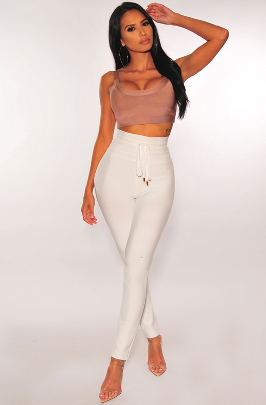 WAIST SNATCHED White Bandage High Waist Belted Pants 3