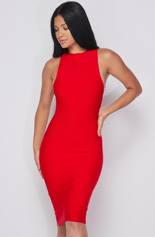 Waist Snatched Red Bandage Sleeveless Dress 1