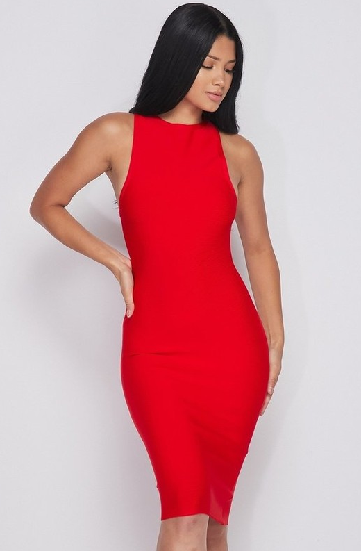 Waist Snatched Red Bandage Sleeveless Dress 2