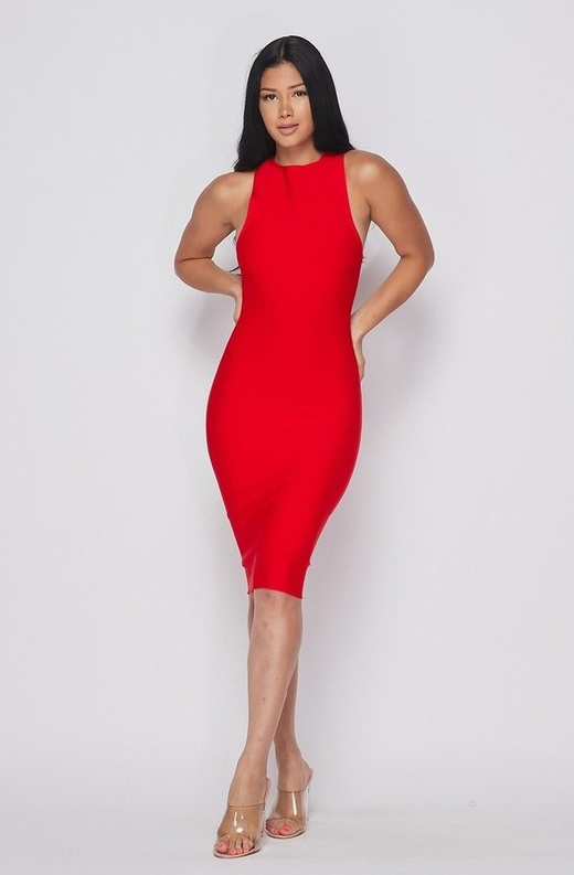 Waist Snatched Red Bandage Sleeveless Dress 3