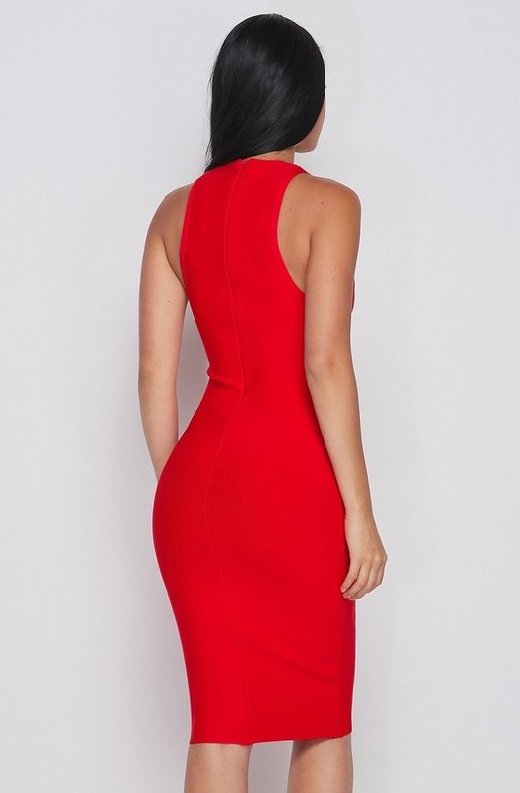 Waist-Snatched-Red-Bandage-Sleeveless-Dress--5
