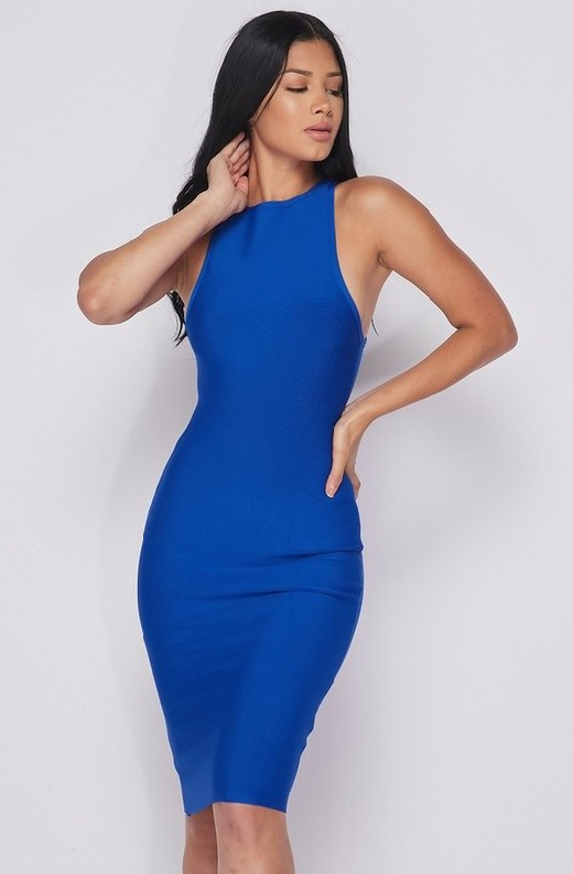 Waist Snatched Royal Blue Bandage Sleeveless Dress 1
