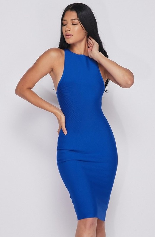 Waist Snatched Royal Blue Bandage Sleeveless Dress 2