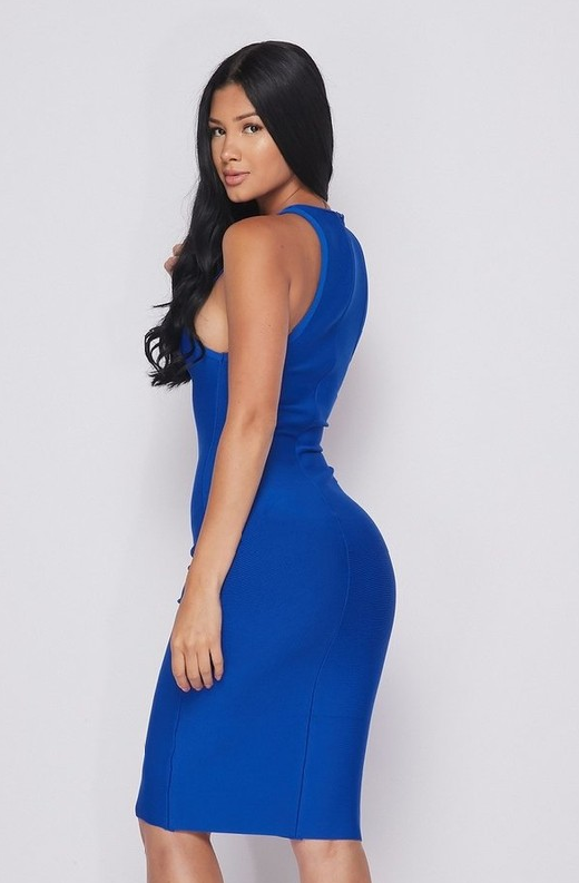 Waist Snatched Royal Blue Bandage Sleeveless Dress 3