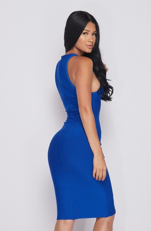 Waist Snatched Royal Blue Bandage Sleeveless Dress 4