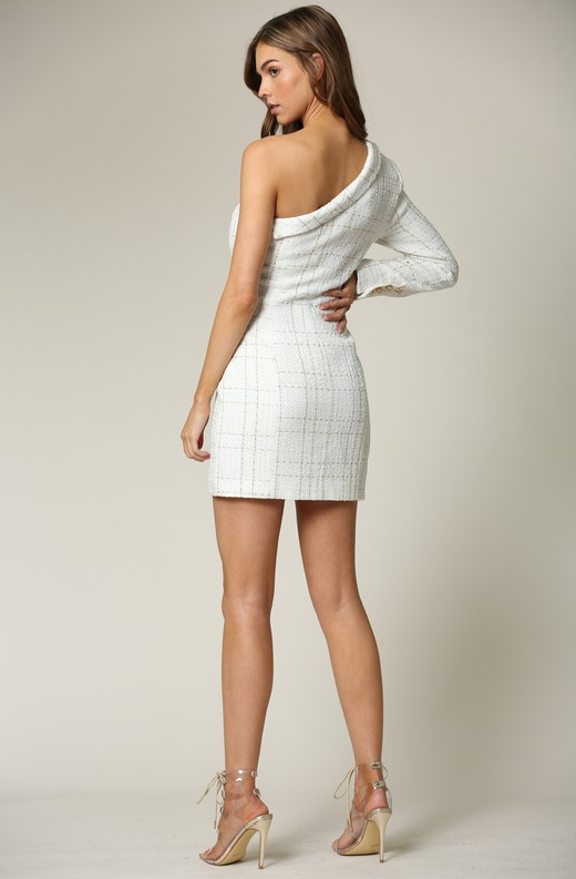 White Plaid Gold Tweed One Shoulder Dress 2