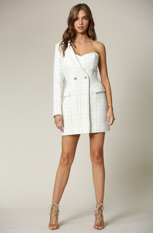 White Plaid Gold Tweed One Shoulder Dress 3