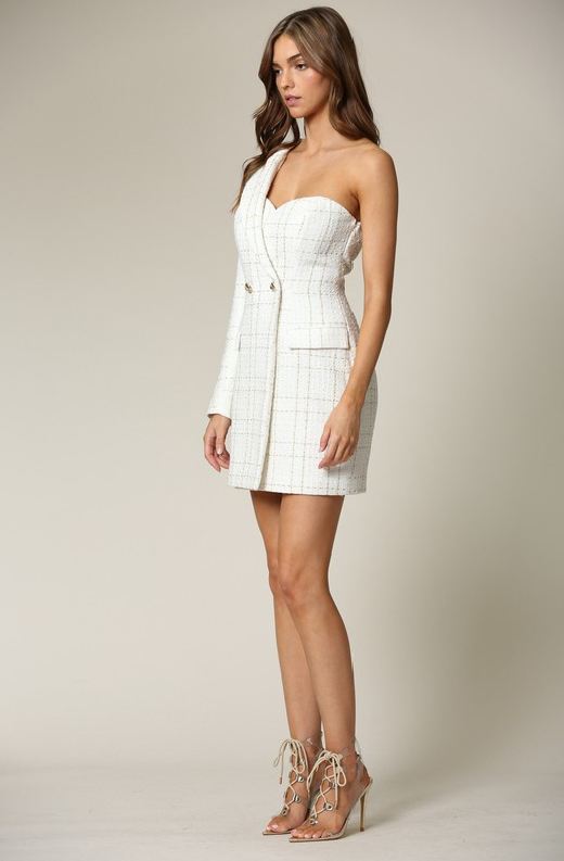 White Plaid Gold Tweed One Shoulder Dress 4