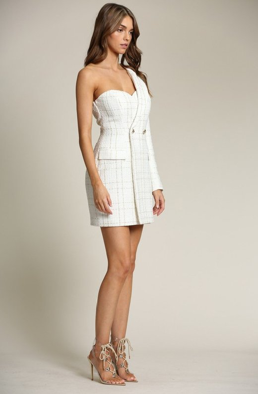 White-Plaid-Gold-Tweed-One-Shoulder-Dress-5