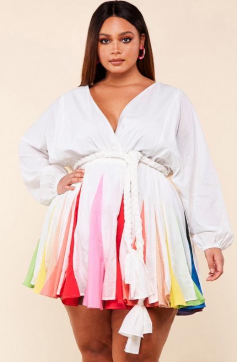 Multicolor Skirt Godet