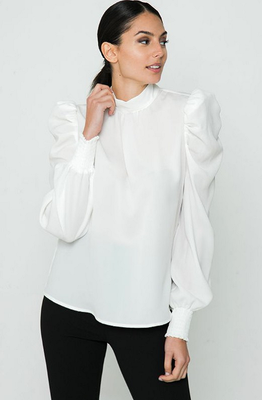 White Solid High Collar Neck Blouse 1