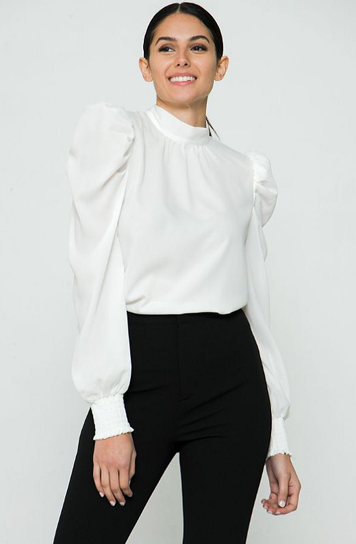 White Solid High Collar Neck Blouse 2
