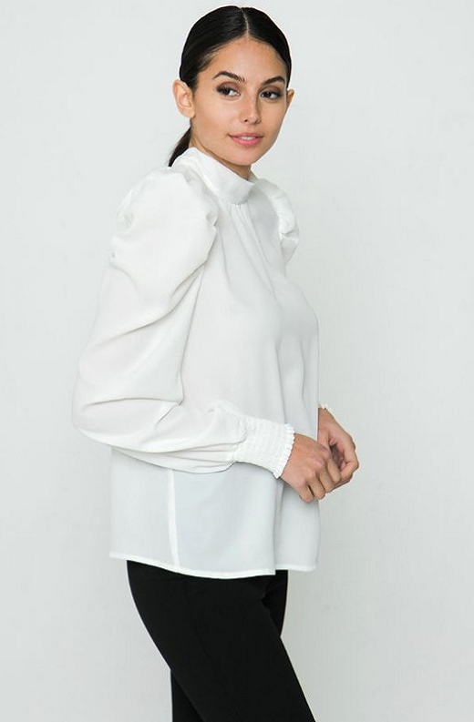 White Solid High Collar Neck Blouse 3