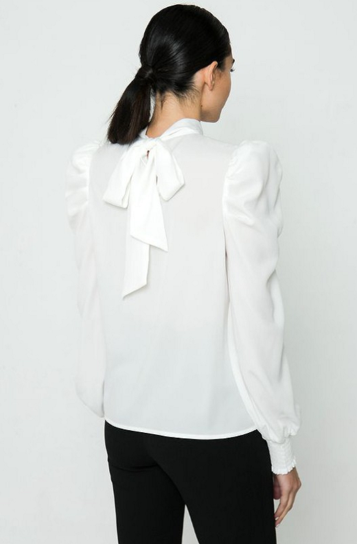 White Solid High Collar Neck Blouse 4