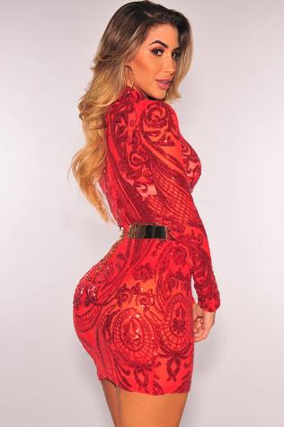 red_sequins_mesh_mock_neck_panty_lined_dress_2