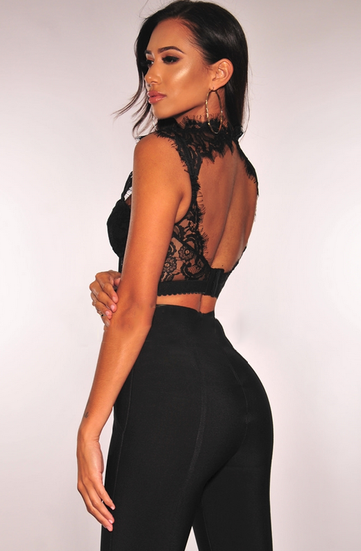 Black Lace Strappy Bustier Crop Top 2