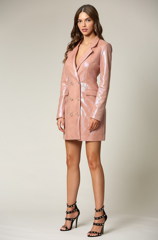 Dusty Rose Faux Leather Oil Spill Iridescent Blazer Dress 1