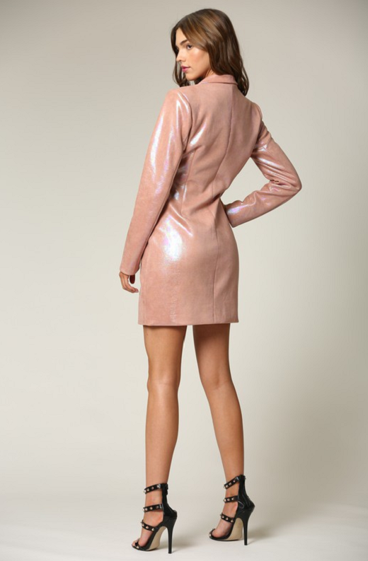 Dusty Rose Faux Leather Oil Spill Iridescent Blazer Dress 2
