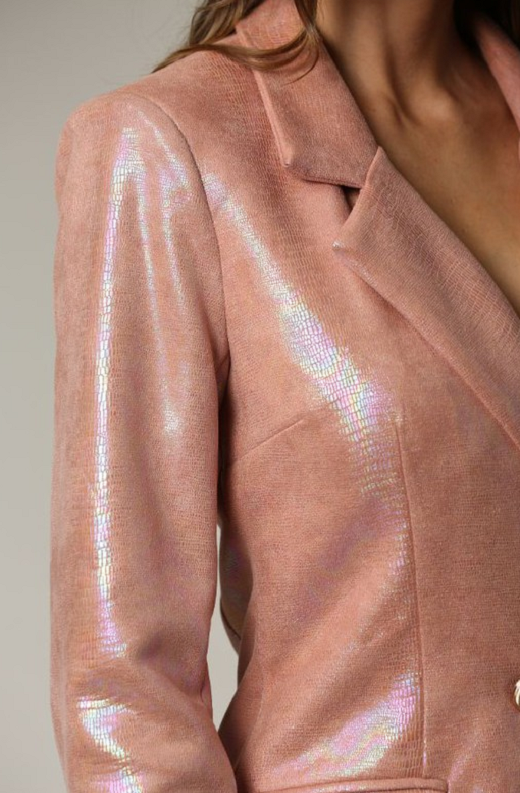 Dusty Rose Faux Leather Oil Spill Iridescent Blazer Dress 3